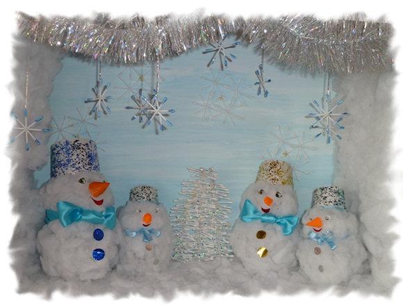 Снеговик своими руками из ватных палочек
